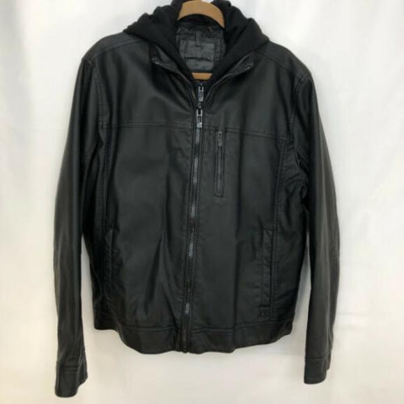 6f4a6fa0b Calvin Klein Mens Faux Leather Basic Hoody Size L